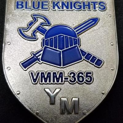 USMC VMM-365 Blue Knights Commander's Shield Shaped Challenge Coin