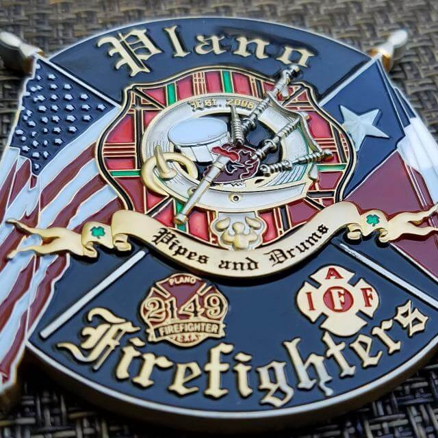 Plano TX Fire Department Pipes and Drums Challenge Coin - Phoenix Challenge  Coins