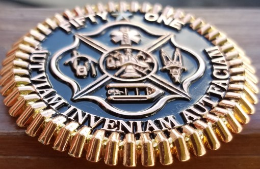 San Antonio Fire Rescue 51 tri-plated and Featuring Phoenix Challenge Coins®Armor Shield™ Finish back