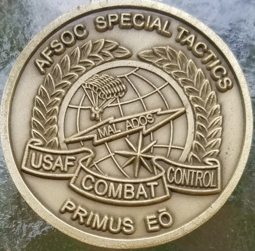 Rare Authentic USAFSOC Special Tactics PJ CCT Challenge Coin back