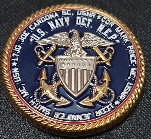 New England Patriots Cdr Mark Price Team Physician USN DET NEP Challenge Coin bck