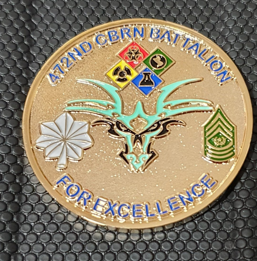US Army 472nd Chemical Battalion custom command team challenge coin front