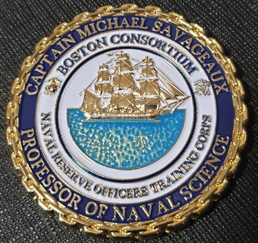 USN Boston Naval ROTC Consortium Commander's Challenge Coin made by Phoenix Challenge Coins frontside