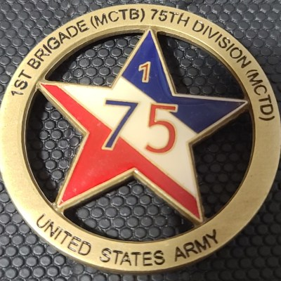 US Army 1st Brigade (MCTB) 75th Division (MCTD) Command Team Cut-out challenge coin