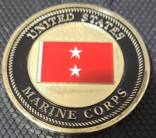 US Marine Corp Air and Ground Expeditionary Force Afghanistan MG Commanding General challenge coin back