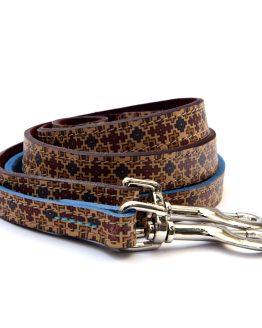 Handcrafted Motif Pattern Premium Soft Leather Dog Lead