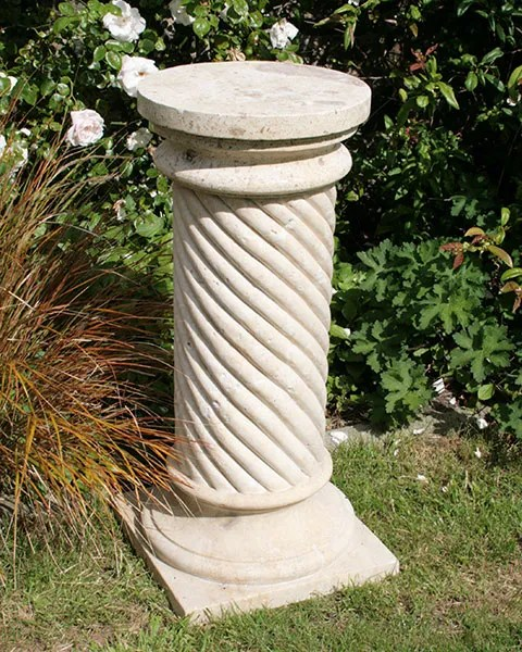 Travertine Spiral Column Garden Memorial