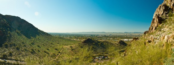 Piestewa / Squaw Peak in Phoenix Arizona Panoramic Overlooking Phoenix and Mesa Arizona
