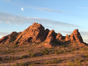 Photo of reddish rounded mountains at Papago Park