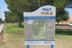 Image of a WalkPHX sign at Deer Valley Park