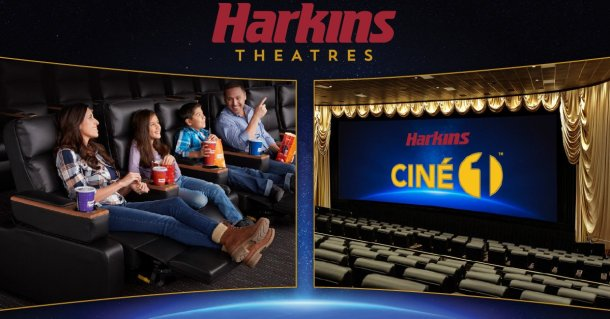 Image of family watching a movie and the Cine Capri screen