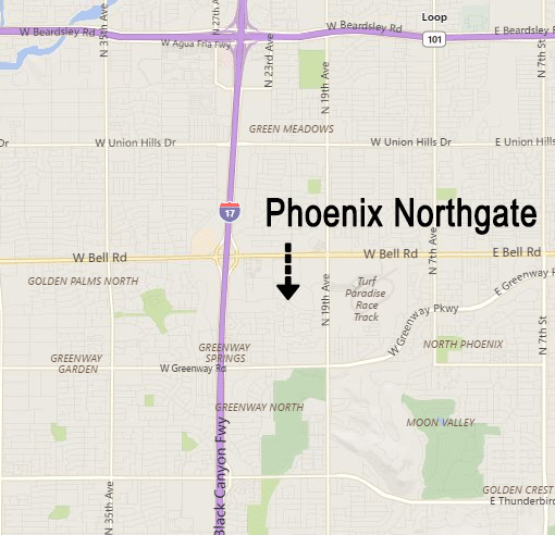 Map of area around Phoenix Northgate subdivision