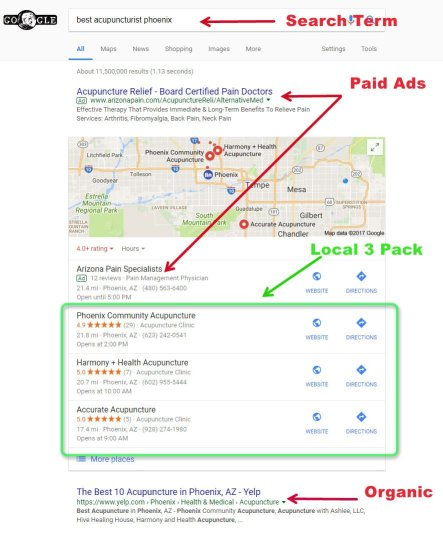 Screenshot of the local 3 pack demonstrating local search optimization