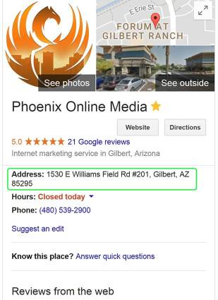 google my business screenshot showing address consistency as a positive local search engine optimization ranking factor