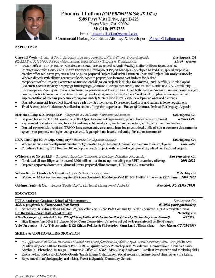 professional resume background phoenix thottam real estate