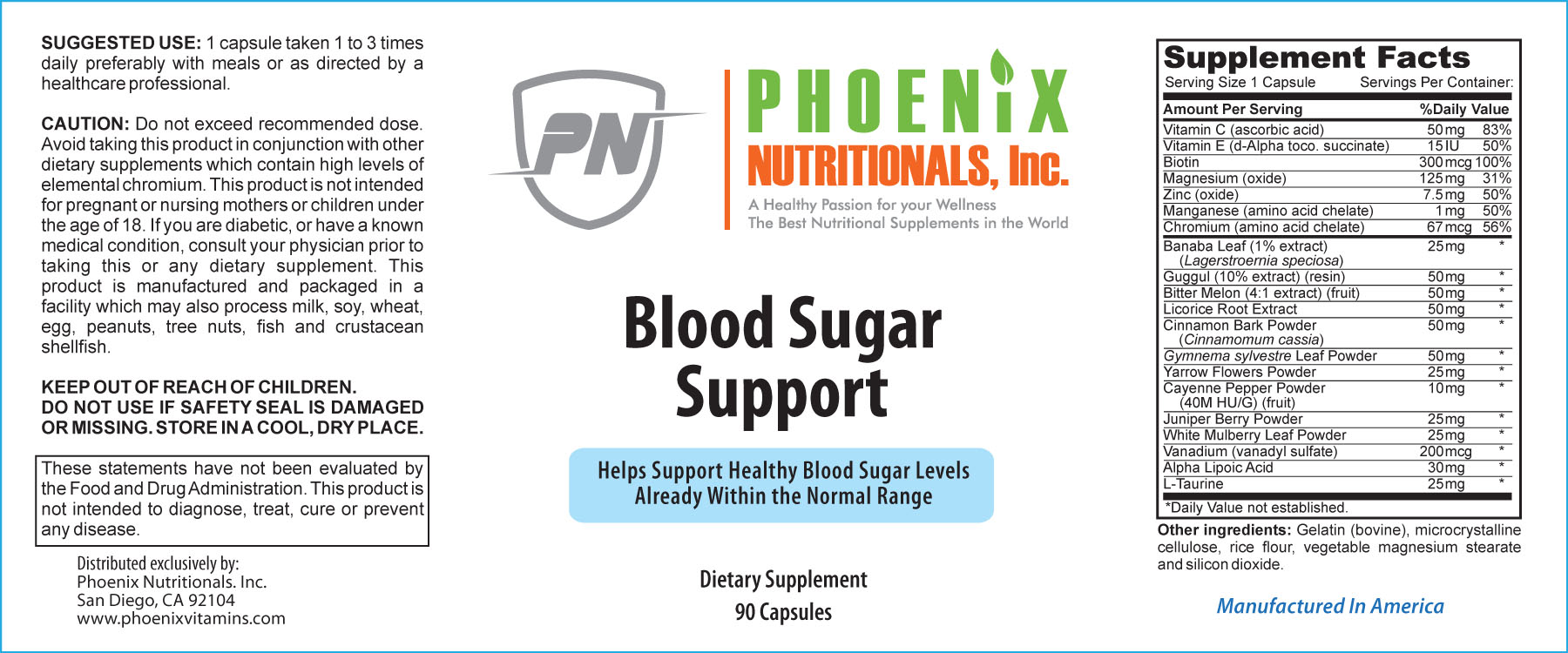 Blood Sugar Support Supplement 90 Caps