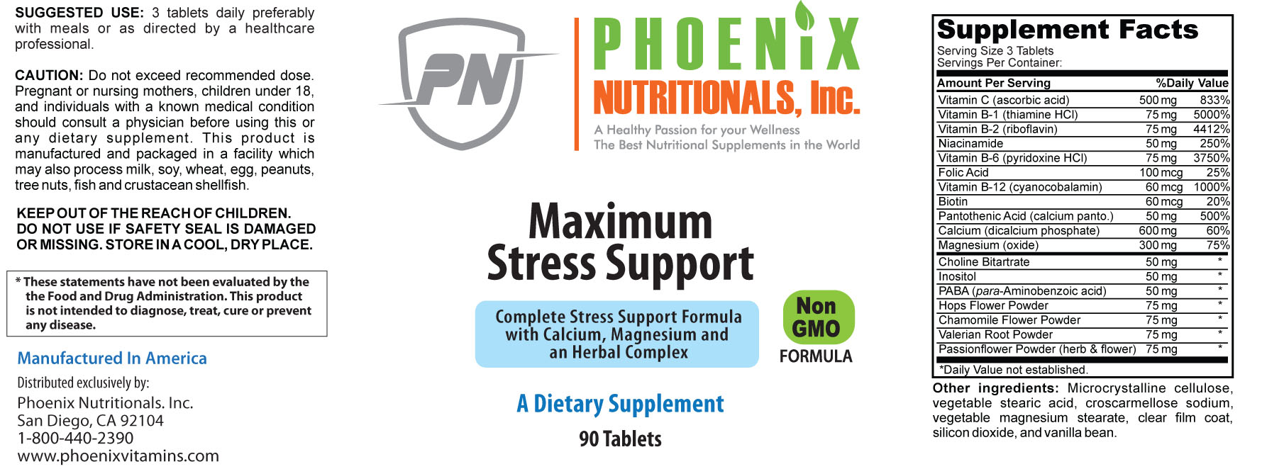 Maximum Stress Support Supplement Facts Box These
