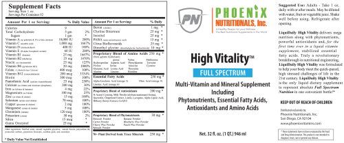 High Vitality Liquid Multivitamin, The Ultimate in Full Spectrum Nutrition High Vitality Natural Liquid & Vitamin Mineral Supplement, High Energy, Anti-Aging Formula, Mixed Fruit Flavor, Gluten Free, Sugar Free, & Highly Absorbable.
