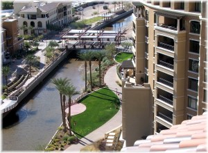 Balcony view from Scottsdale Waterfront Residences