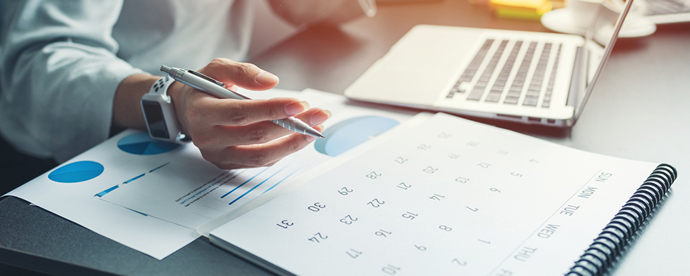 Business person planning a schedule