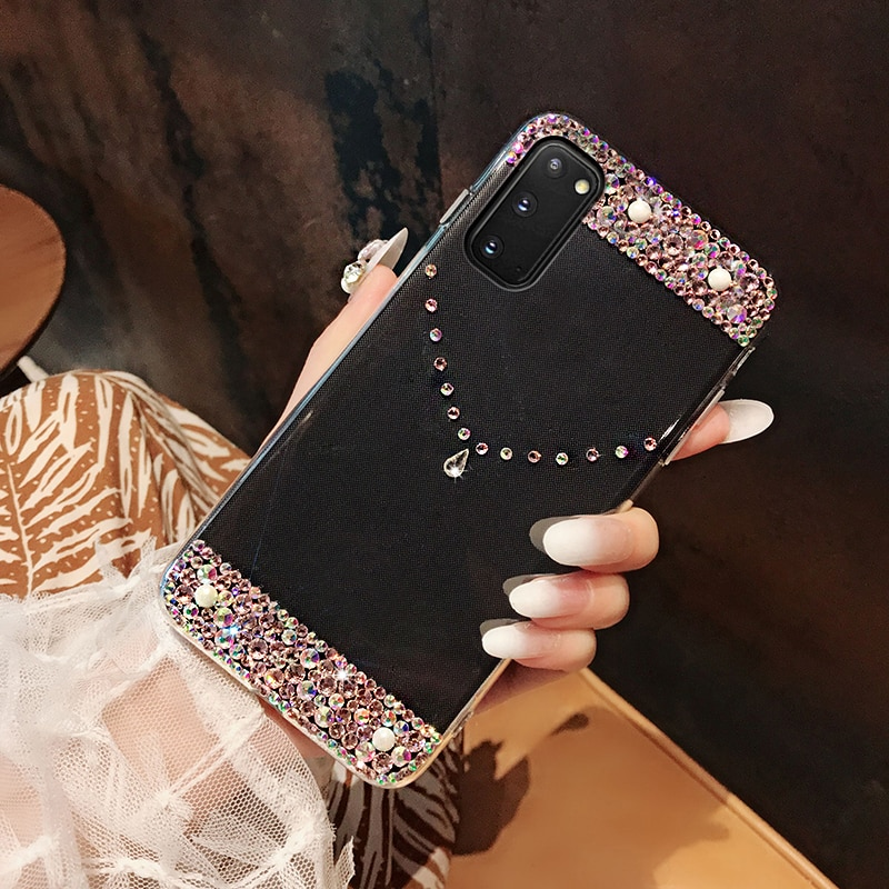 S20 FE A42 Phone Case For Samsung A51 A71 A50 A70 Note 20 Ultra A40 A41 A21S M21 S10 S10E S21 Plus A12 A32 5G Diamond Back Cover