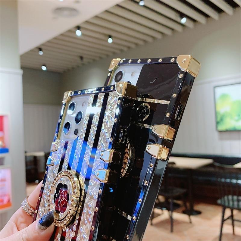 Luxury Square Glitter Retro Rose Flower Phone Case For iPhone 12 11 PRO MAX 6s 7 8 Plus XS Fashion Diamond Ring Silicone Cover