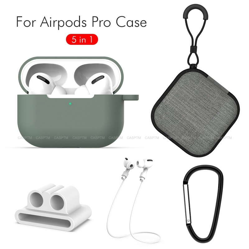 New Soft Silicione Protective Earphone Case For Air Pods Pro 5 In 1 Holder Anti Lost Strap Ear Tips Kits Sleeve For AirPods Pro