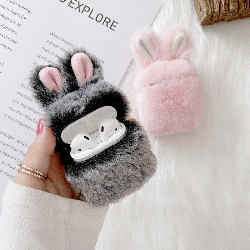 Soft Rabbit Ear Fur Case for Apple AirPods 1 2 Wireless Bluetooth Headset Case Fluffy Plush Cover for Airpods Pro Case