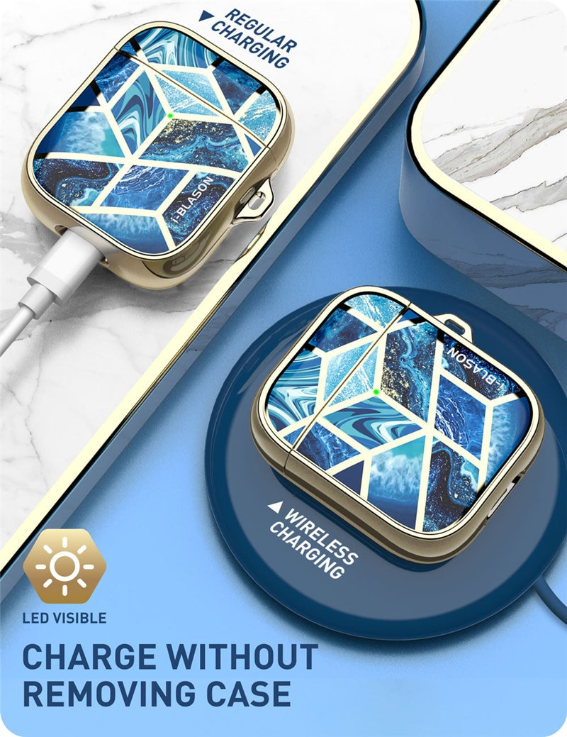 I-BLASON Cosmo Cover Case Designed For Airpods, 360 Degree Protective Stylish Marble Case Cover Compatiable with AirPods 1st/2nd