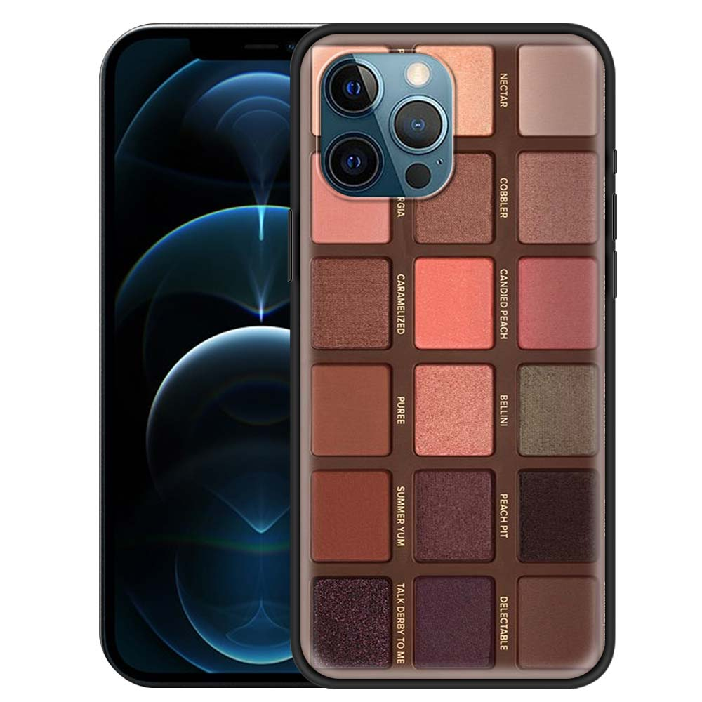 Glam Makeup Eye Shadow Box Case For Apple iPhone 12 11 Pro 7 XR X XS Max 8 6 6S Plus SE 2020 5 5S Coque Black Shell Phone Covers