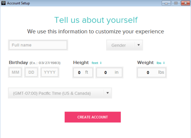 Tell us about yourself - Fitbit One Setup