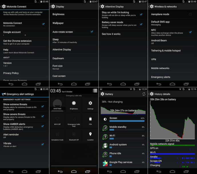 Moto X Settings and Battery
