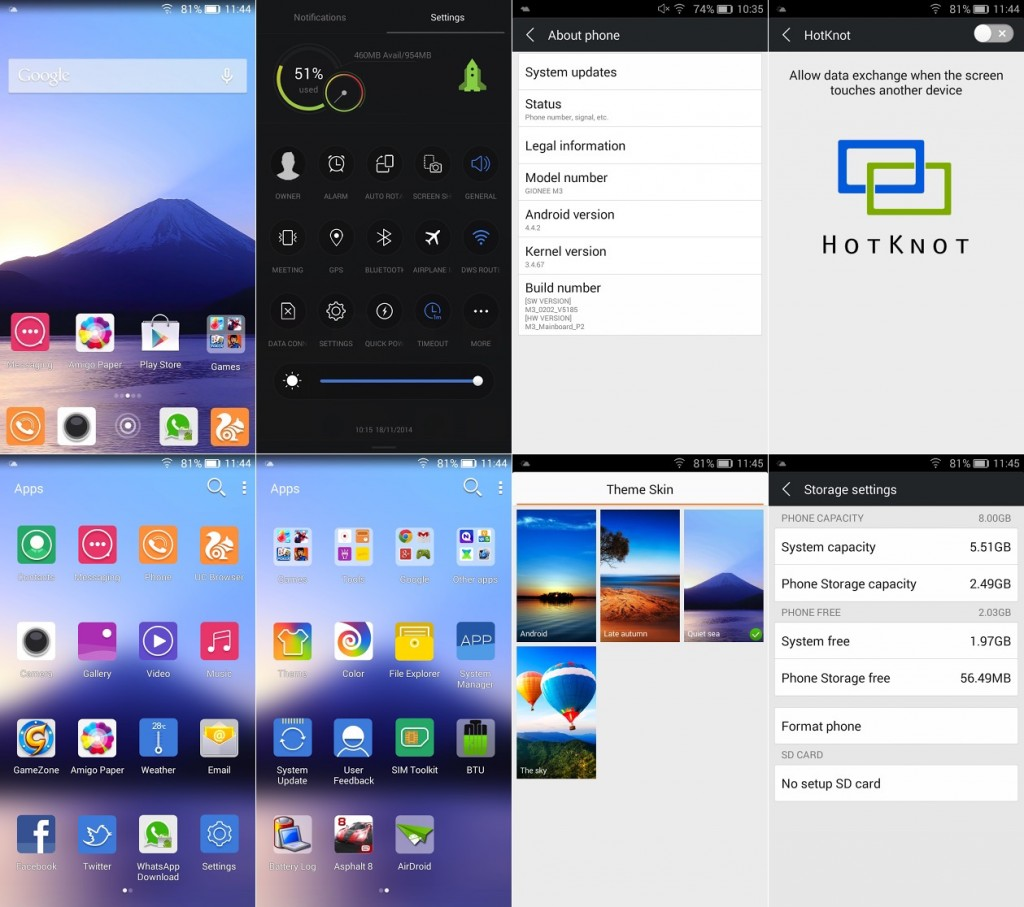 Gionee Marathon M3 Screenshots