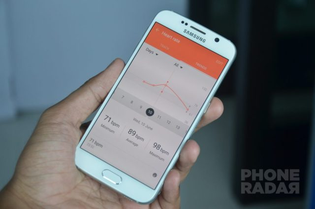 Samsung Galaxy S6 S Health Heart Rate