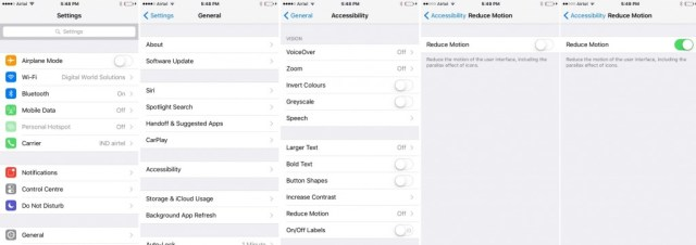 How to Reduce Motion on iOS 9