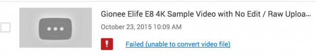 Gionee ELife E8 - 4K Video Upload Error