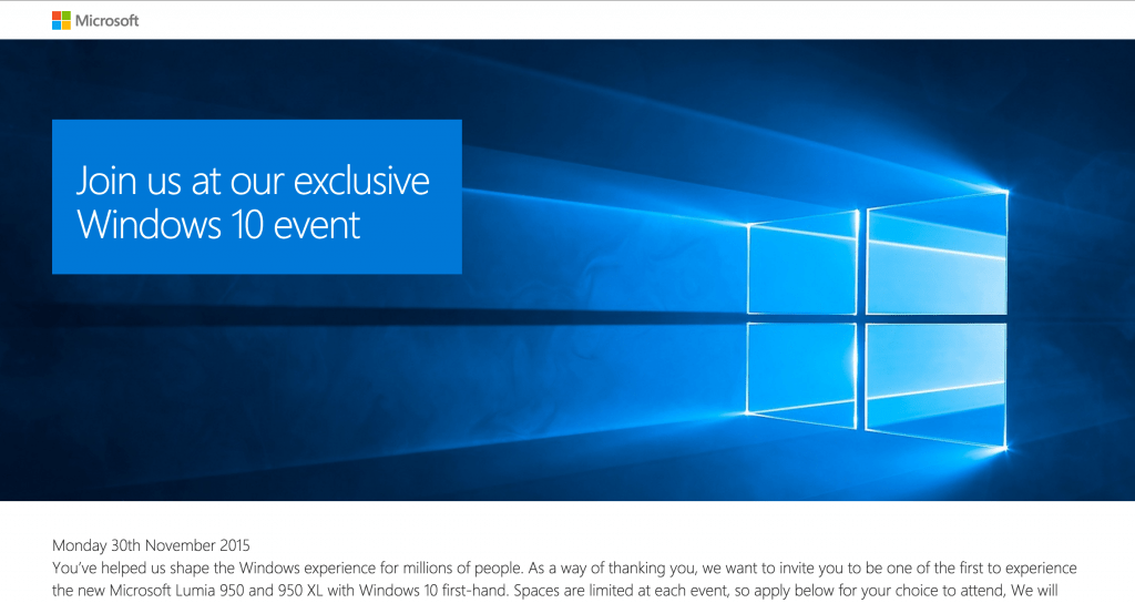 Lumia 950 Launch date