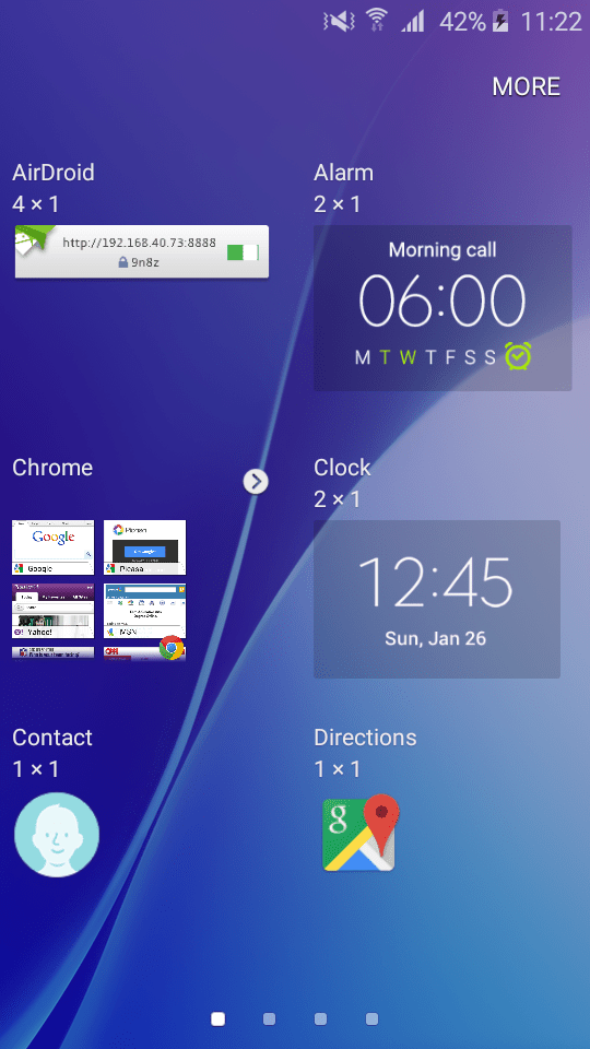 Samsung Galaxy J2 - Widgets