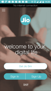 Jio App Welcome Page