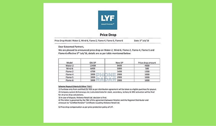 LYF Price Drop PhoneRadar