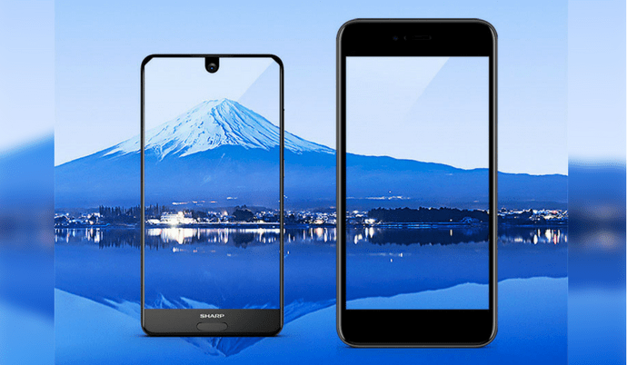 Smartphone, Sharp Aquos S2 with screen Free Form