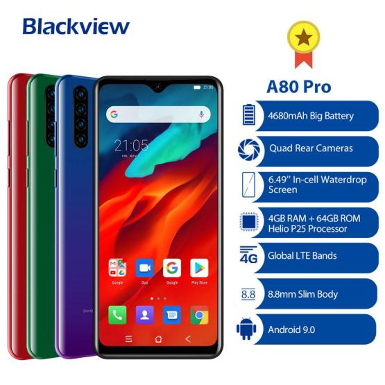 "2020 NEW Blackview A80 Pro Smartphone Octa Core Android 9.0 4680mAh Cellphone 4GB+64GB 6.49"" Fingerprint ID 4G LTE Mobile Phone"