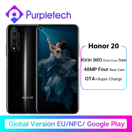 Global Version Honor 20 Smartphone 6G128G Kiri 980 Octa Core 6.26''48MP Four Camera Mobile Phone NFC Google Play SuperCharge