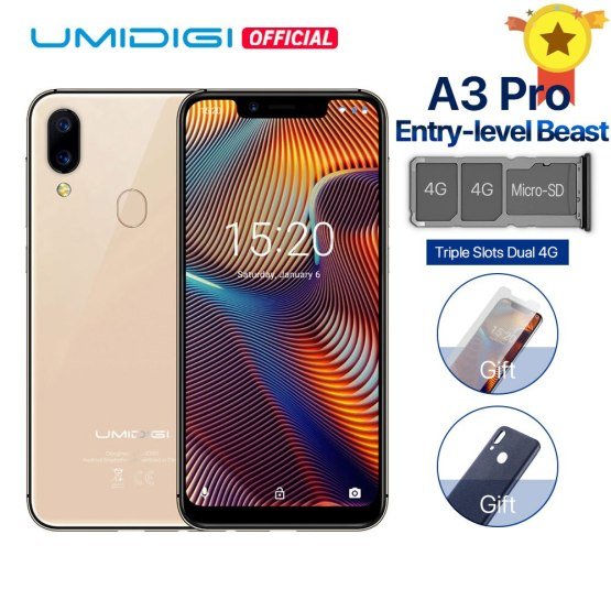 "UMIDIGI A3 Pro Global Band Android 8.1 MT6739 5.7""19:9 FullScreen smartphone 3GB+32GB 12MP+5MP Face Unlock Dual 4G Moblie Phone"