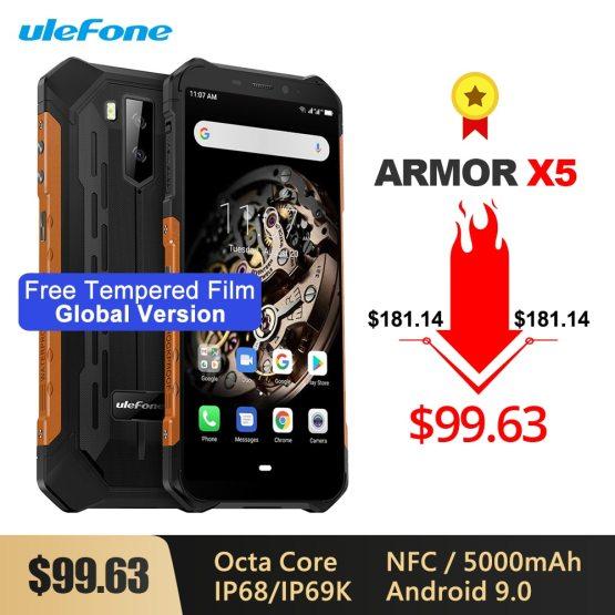 Ulefone Armor X5 IP68/IP69K Rugged Shockproof Smartphone 5000mAh Octa Core 5.5'' Dual SIM Android 9.0 OTG NFC 3GB 32GB 4G LTE