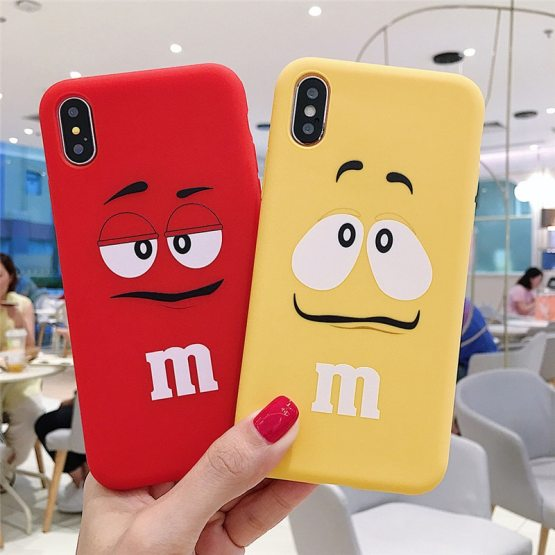 Cute Cartoon M's Chocolate Beans Nutella Bottle Case For iPhone 11pro 6 6S 7 8 Plus X XS MAX XR Silicone Soft Cover M&M's Coque