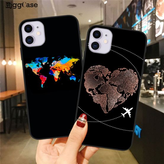 World Map Travel Just Go Phone Case For iPhone XS MAX X 11Pro XR 7 8 6 6s Plus Fashion Black Silicone Soft Back Cover Case Coque