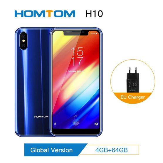 "Original Homtom H10 5.85"" Android 8.1 MTK6750T Octa Core Mobile Phone Fingerprint unlock 64GB 3500mAh 16.0 MP 4G LTE Smartphone"
