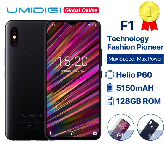 "UMIDIGI F1 6.3"" Waterdrop FHD smartphone Android 9.0 Helio P60 AI Global Band 128GB 5150mAh Mobile phone NFC 16MP 4G cell phones"