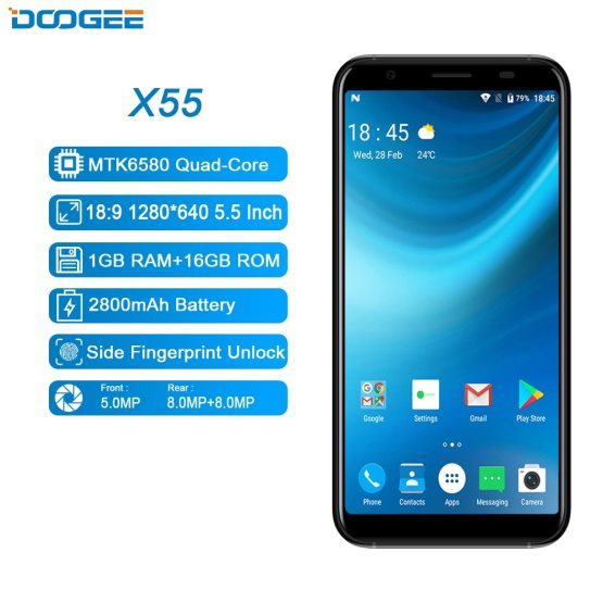 DOOGEE X55 Android 7.0 5.5 Inch 18:9 HD MTK6580 Quad Core 16GB ROM Dual Camera 2018 DOOGEE X55 Android 7.0 5.5 Inch 18:9 HD MTK6580 Quad Core 16GB ROM Dual Camera 8.0MP 2800mAh Side Fingerprint Smartphone.